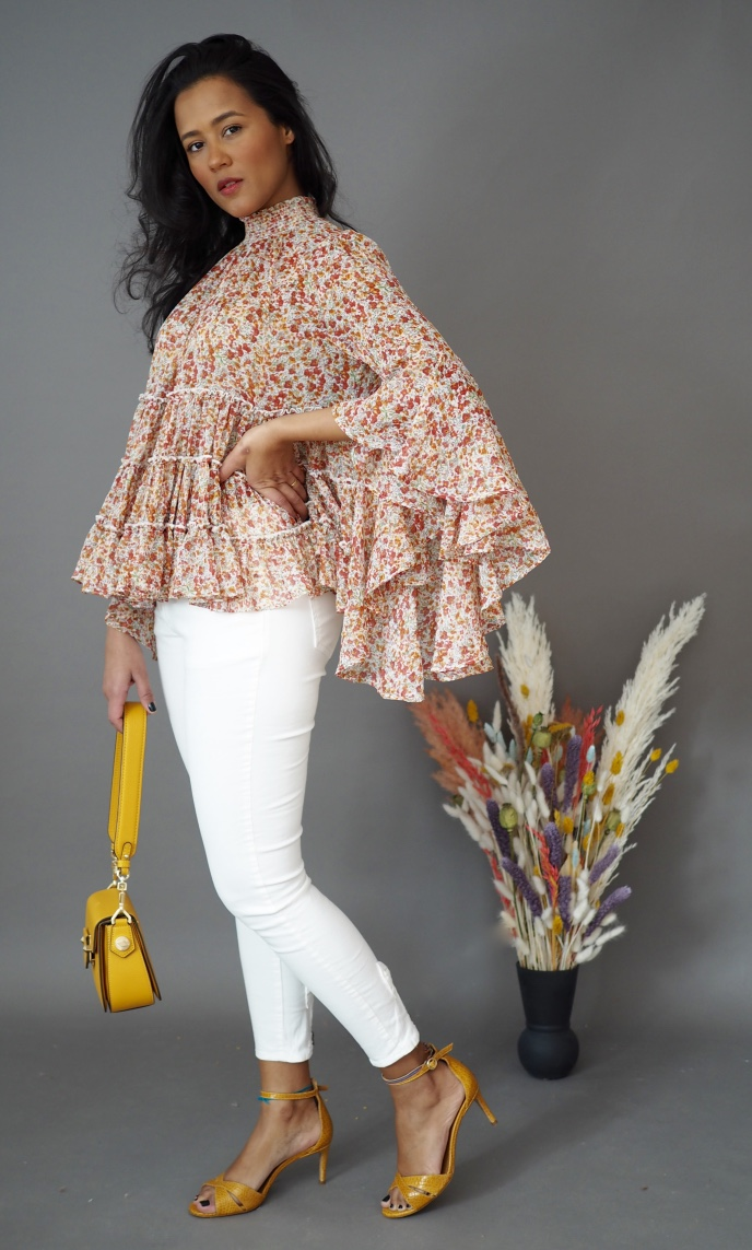 By TiMo Chiffon Blouse Sheer Flowers The Nest Shop